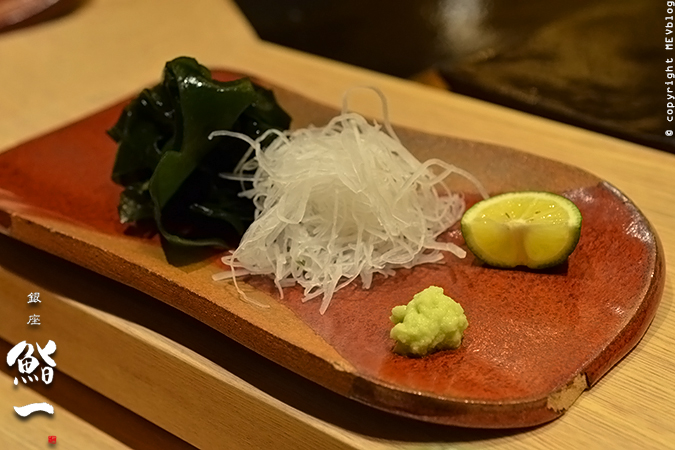 Condiments - radish, seaweed, wasabi and lime