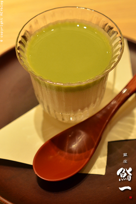 (Tofu Pudding with Green Tea Sauce