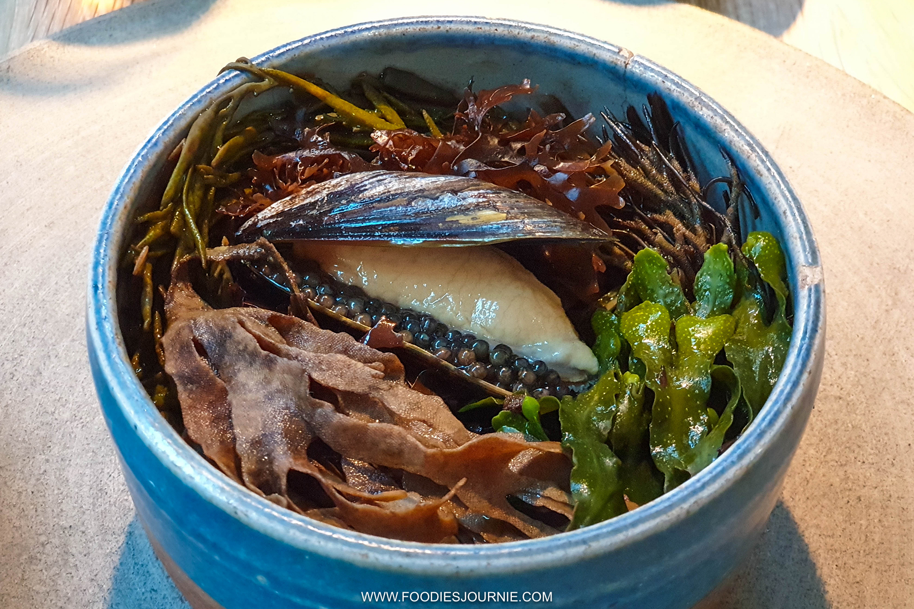 Noma Medium Rare Blue Shell Mussel with Seaweed Soup